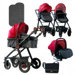 Carucior transformabil 3 in 1 Alexa Red & Black Lighthouse