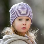 Caciulita din lana merinos si matase Pickapooh Purple Stripes 44