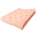Cuvertura pat din muselina Flamingo aurii roz