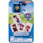 Patrula Catelusilor carti de joc jumbo cu figurina in cutie de metal