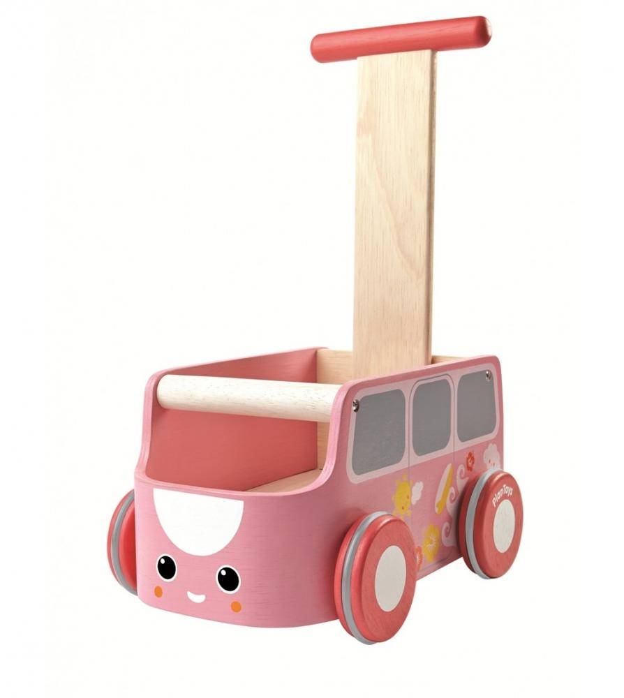 Antemergator din lemn cu spatiu depozitare Autobuz Roz