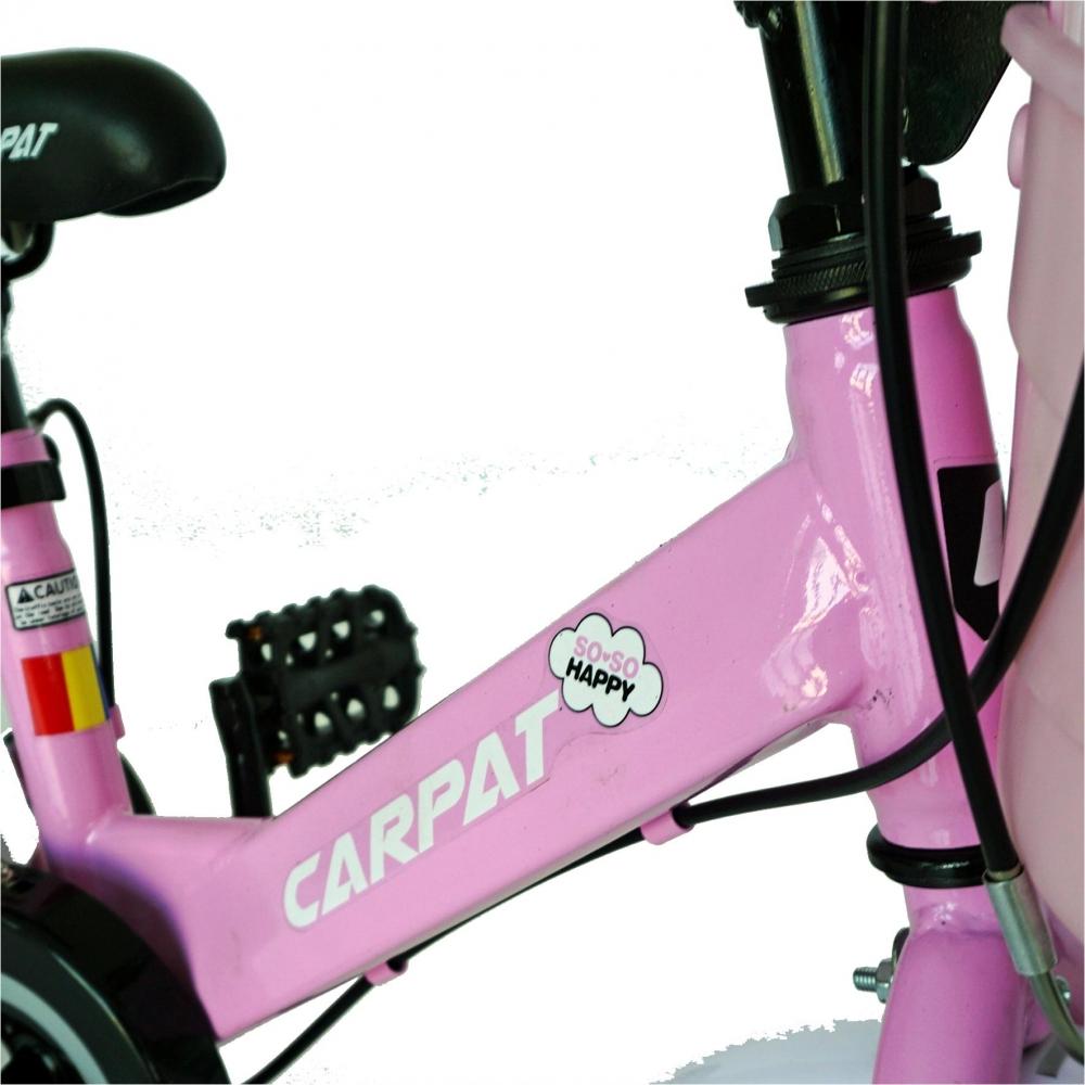 Bicicleta Carpat C1202C 12 V-Brake cu cosulet si roti ajutatoare 2-4 ani rozalb