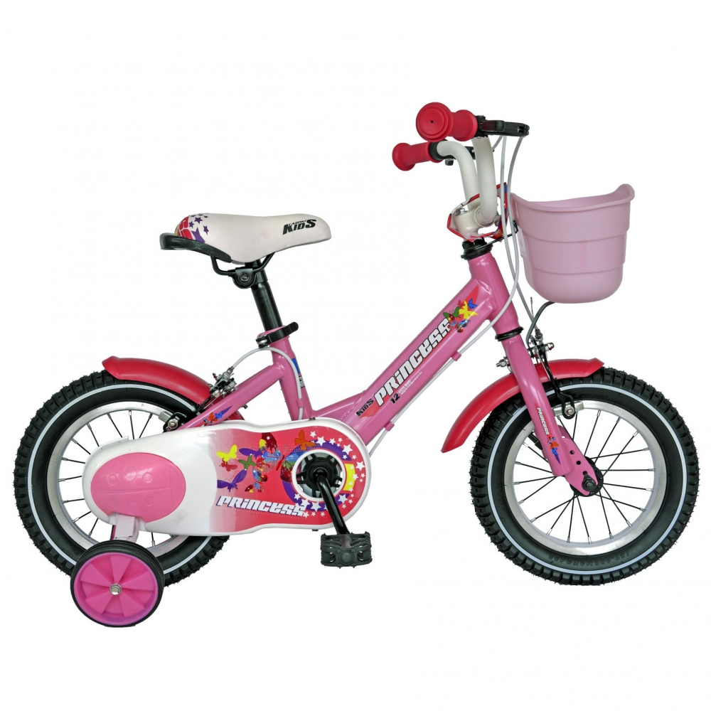 Bicicleta Carpat Princess C1208C 12 cu cosulet si roti ajutatoare 2-4 ani roz/alb