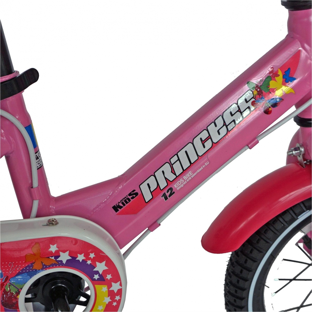 Bicicleta Carpat Princess C1208C 12 cu cosulet si roti ajutatoare 2-4 ani rozalb