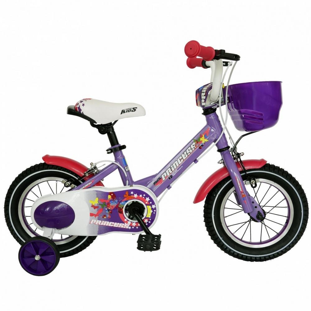 Bicicleta Carpat Princess C1208C 12 cu cosulet si roti ajutatoare 2-4 ani violet/alb