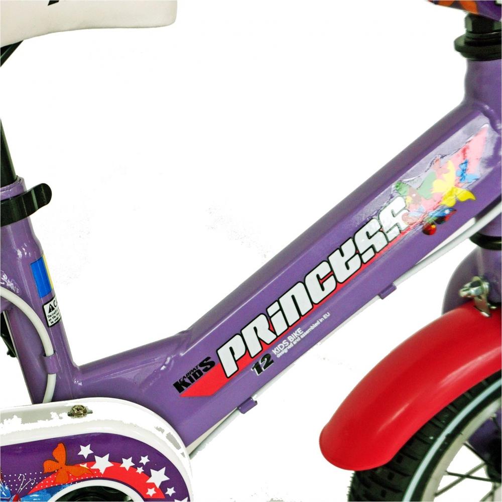 Bicicleta Carpat Princess C1208C 12 cu cosulet si roti ajutatoare 2-4 ani violetalb