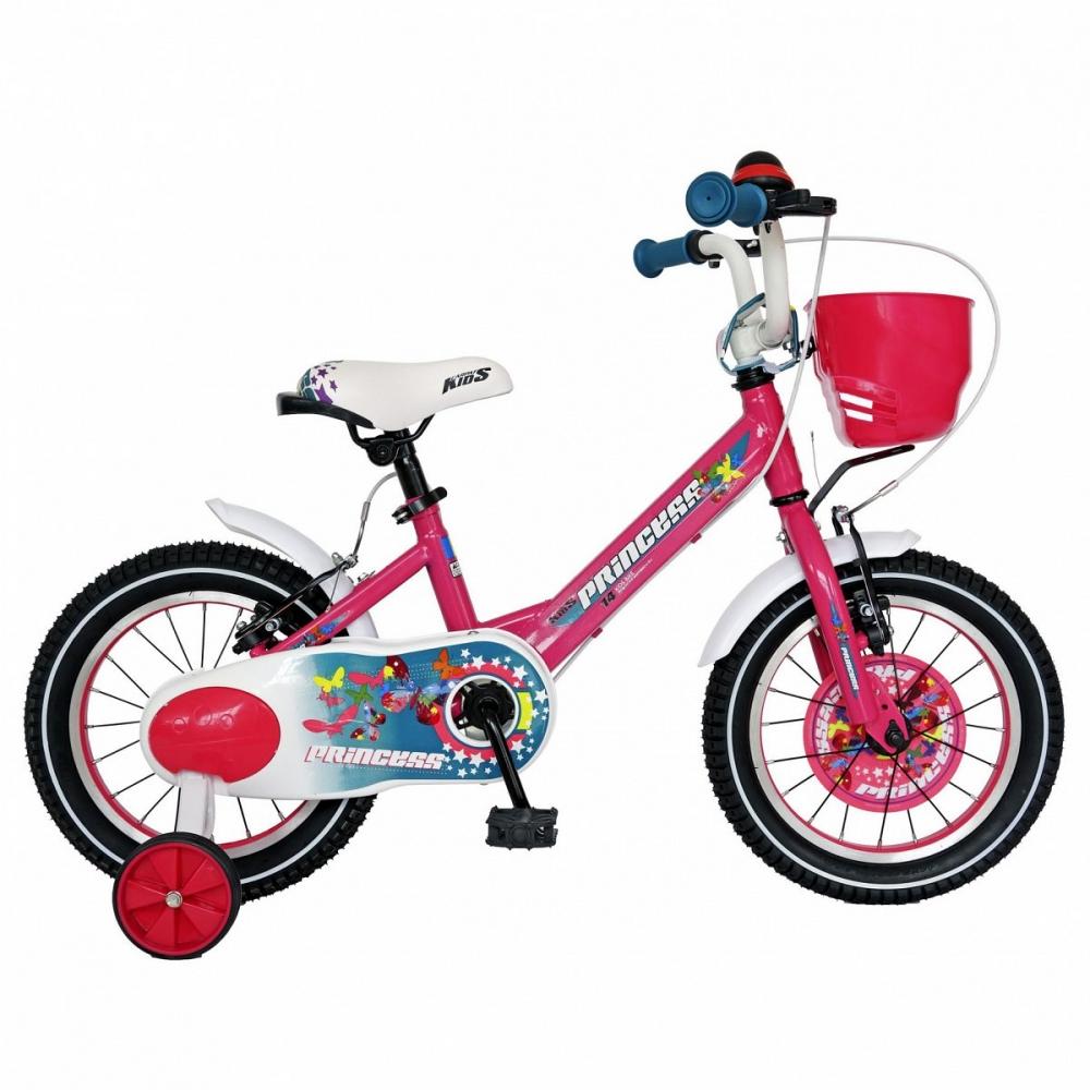 Bicicleta Carpat Princess C1608C 16 V-Brake cu cosulet si roti ajutatoare 4-6 ani fucsia/alb