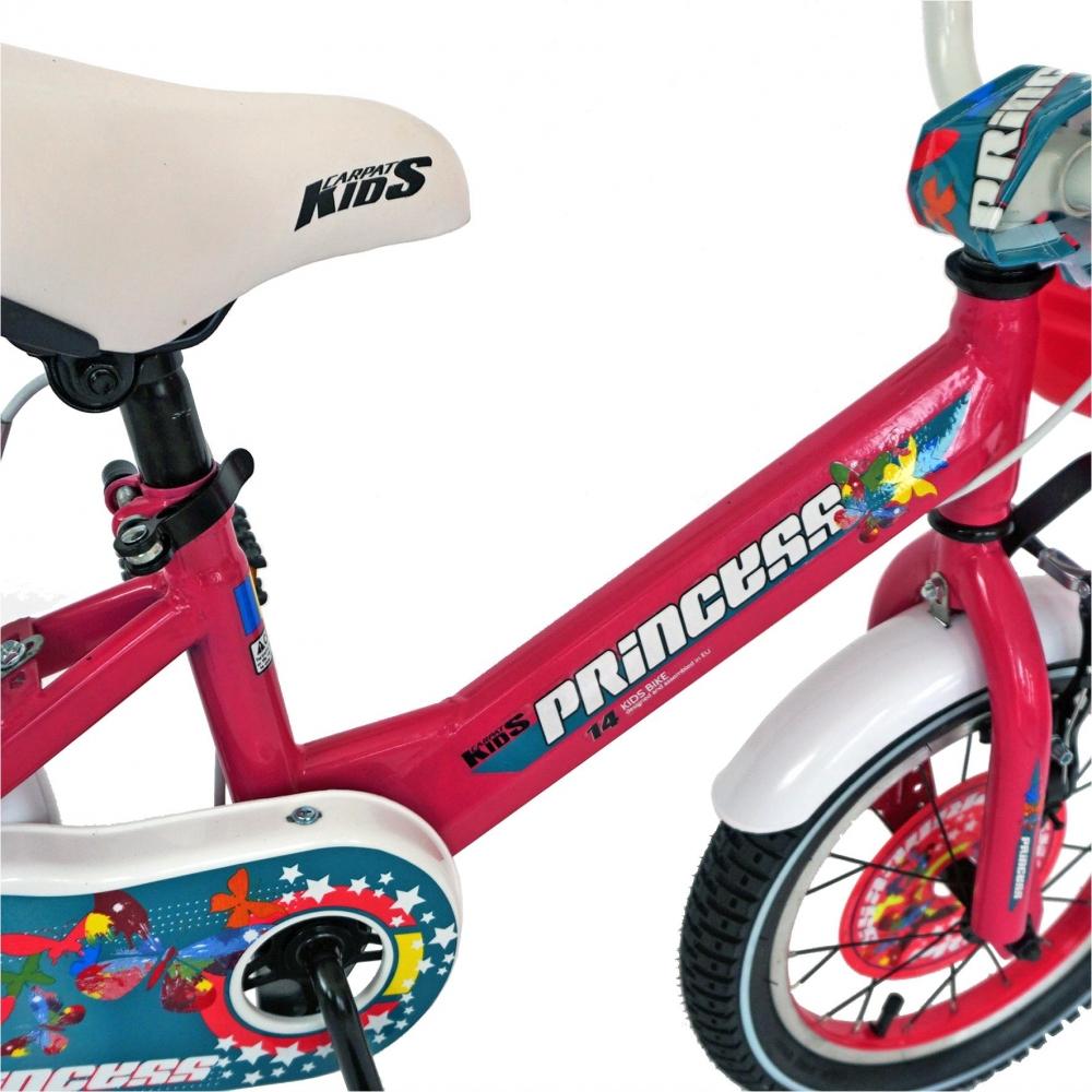 Bicicleta Carpat Princess C1608C 16 V-Brake cu cosulet si roti ajutatoare 4-6 ani fucsiaalb imagine