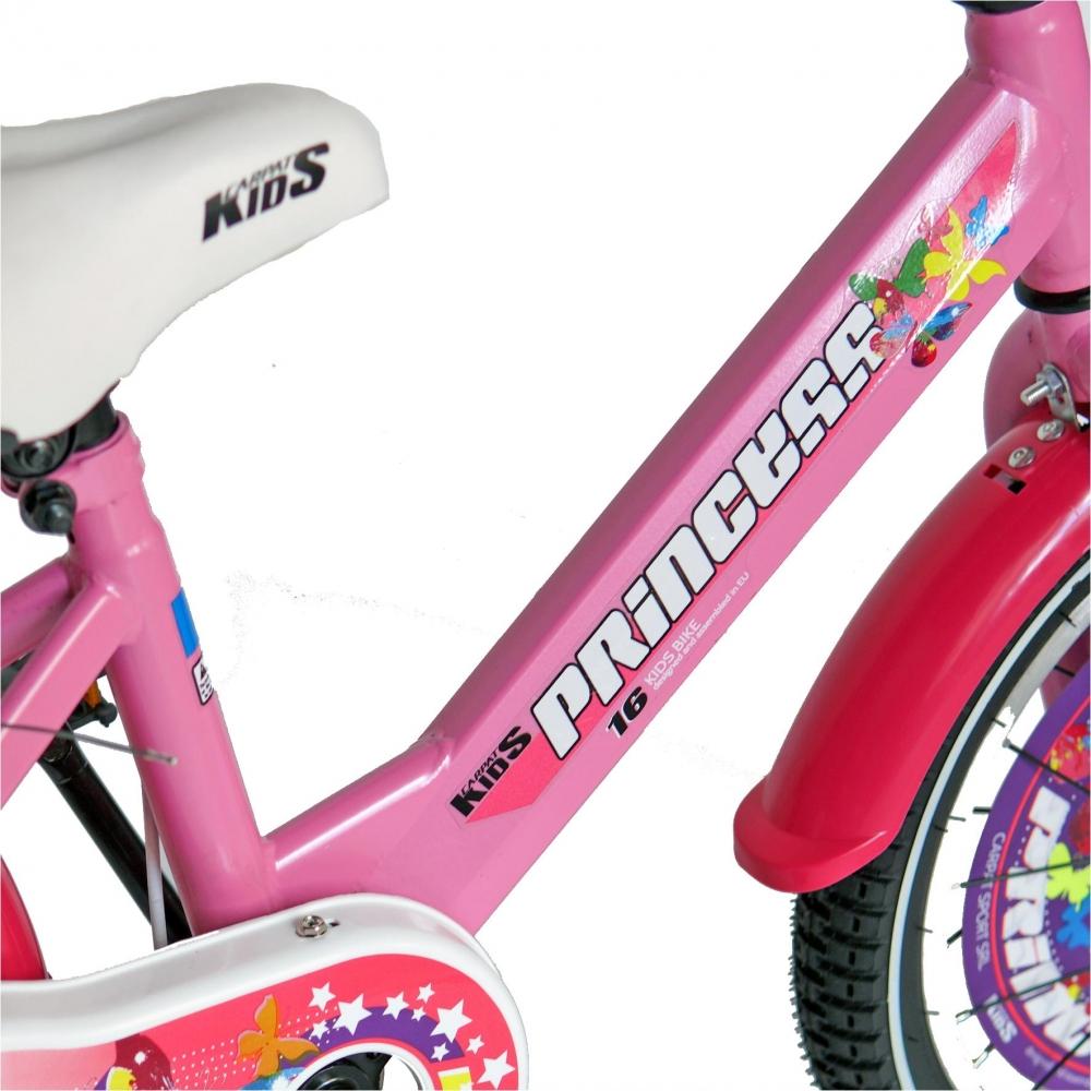 Bicicleta Carpat Princess C1608C 16 V-Brake cu cosulet si roti ajutatoare 4-6 ani rozalb