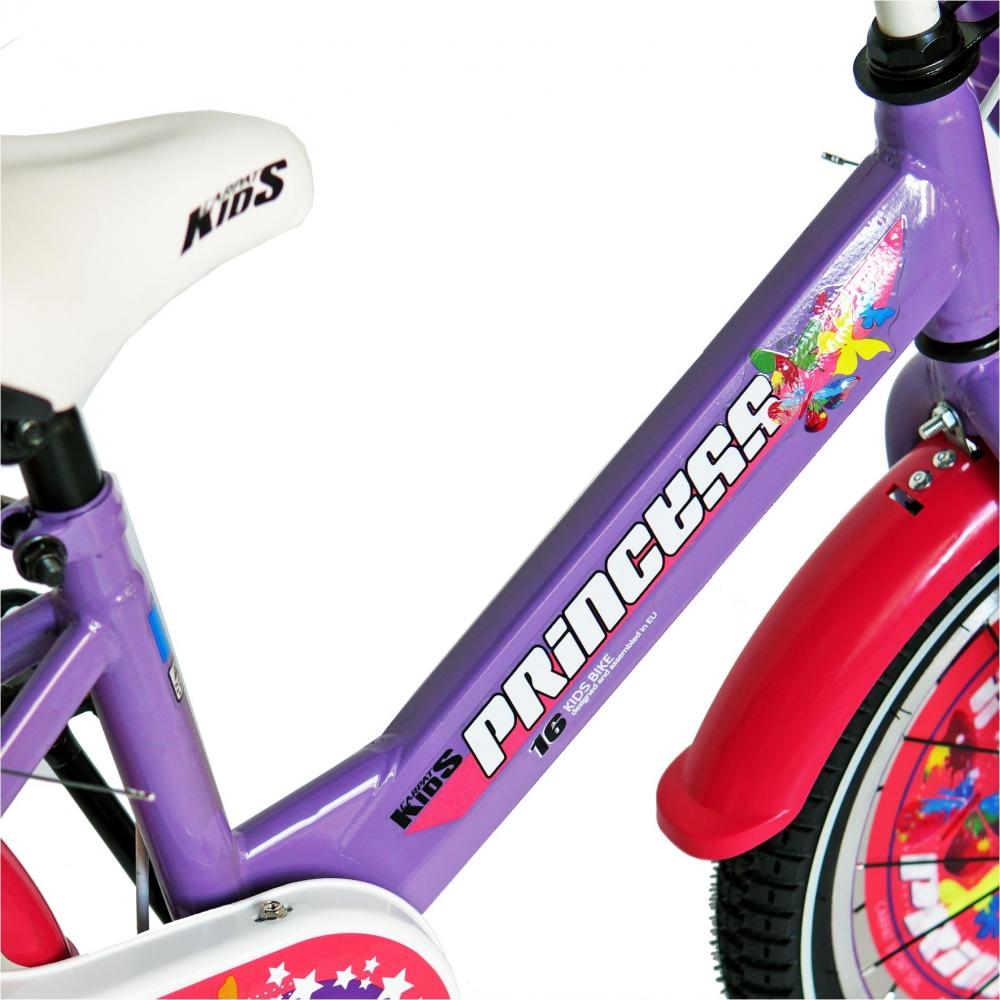 Bicicleta Carpat Princess C1608C 16 V-Brake cu cosulet si roti ajutatoare 4-6 ani violetalb