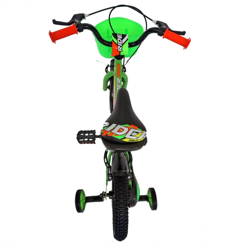 Bicicleta Carpat Rider C1407C 14 V-Brake cu cosulet si roti ajutatoare 3-5 ani verdeportocaliu