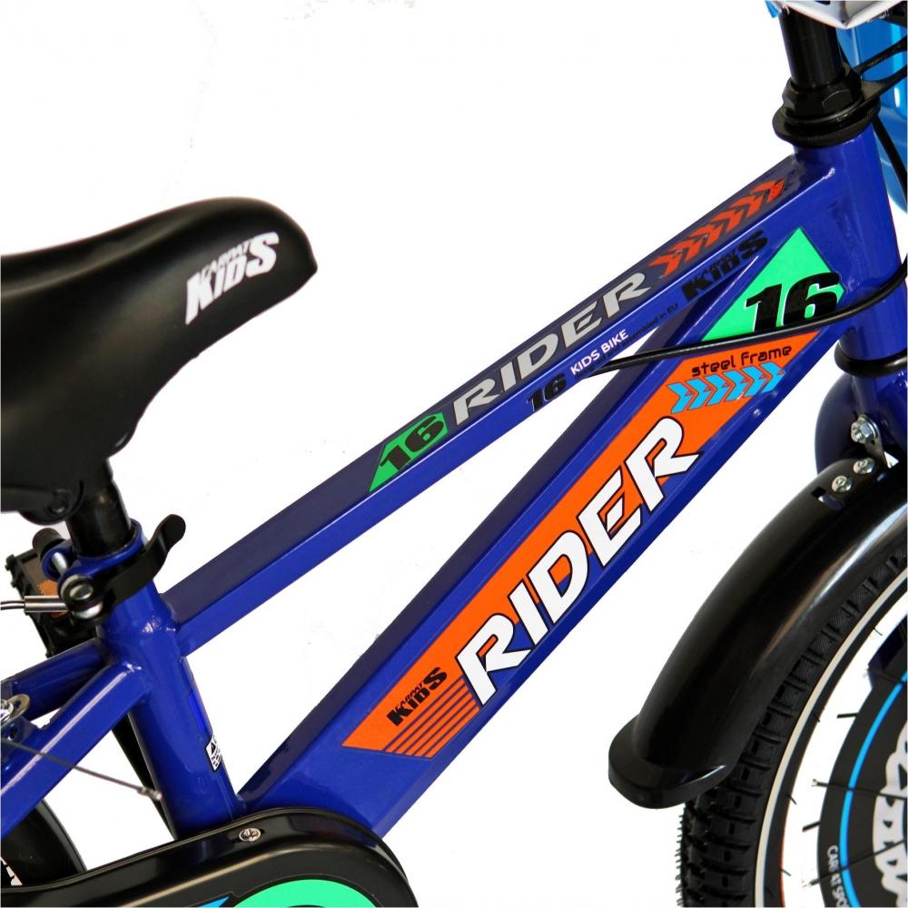 Bicicleta Carpat Rider C1607C 16 V-Brake cu cosulet si roti ajutatoare 4-6 ani albastruportocaliu
