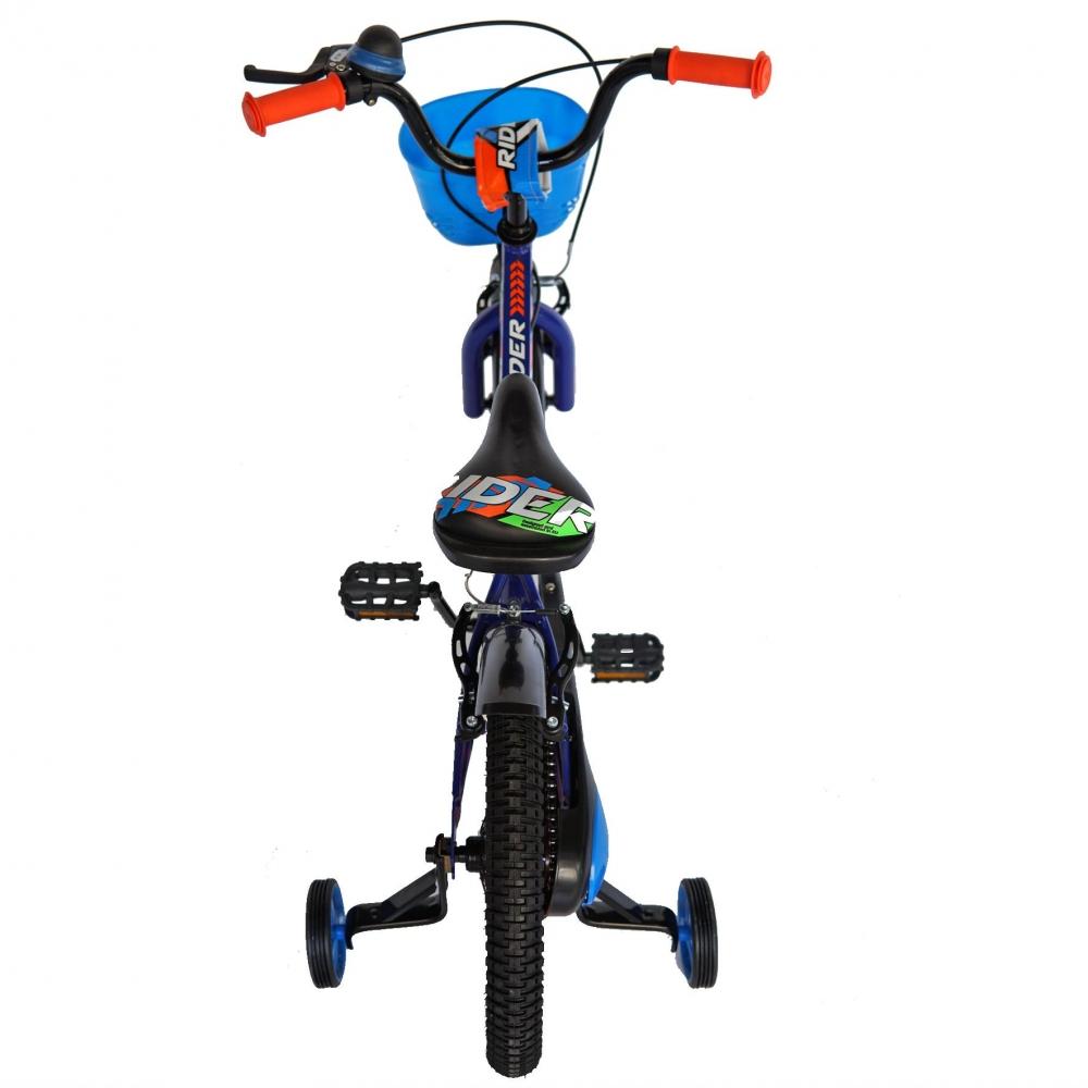 Bicicleta Carpat Rider C1807C 18 V-Brake cu cosulet si roti ajutatoare 5-7 ani albastruportocaliu imagine