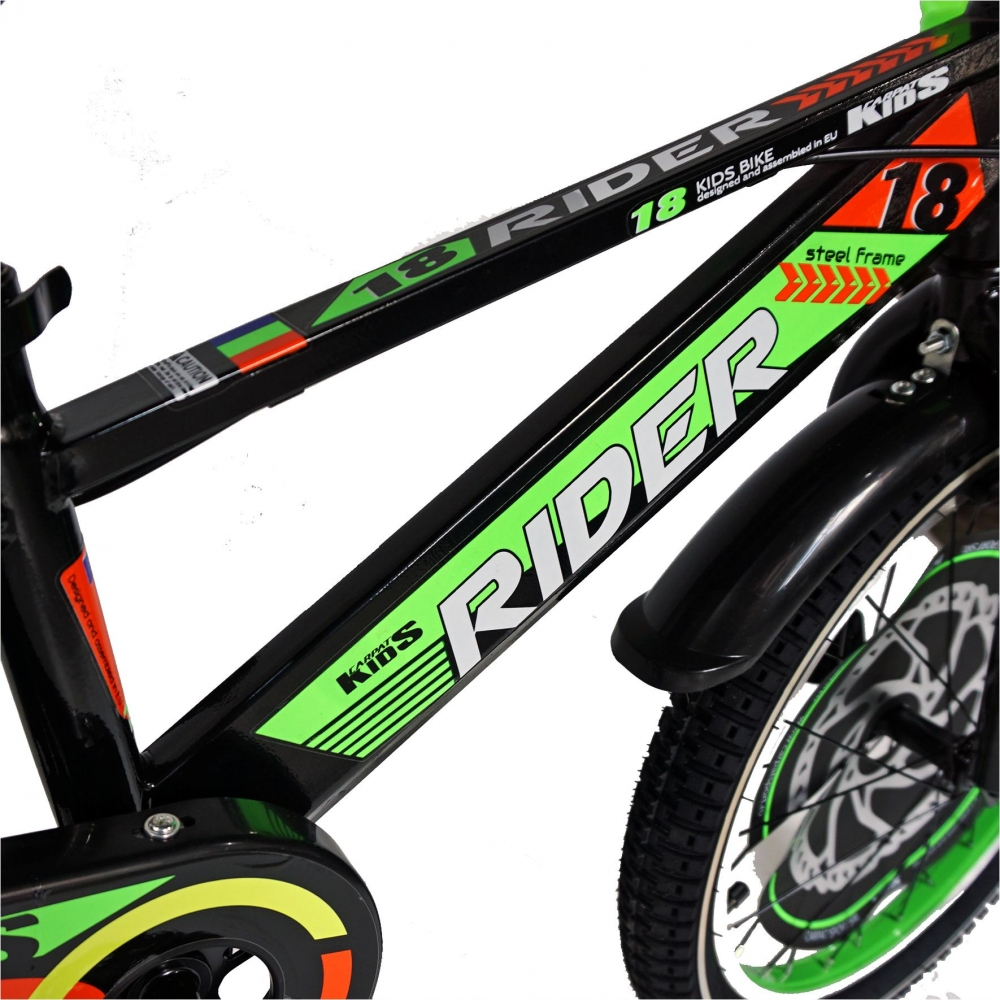 Bicicleta Carpat Rider C1807C 18 V-Brake cu cosulet si roti ajutatoare 5-7 ani negruverde