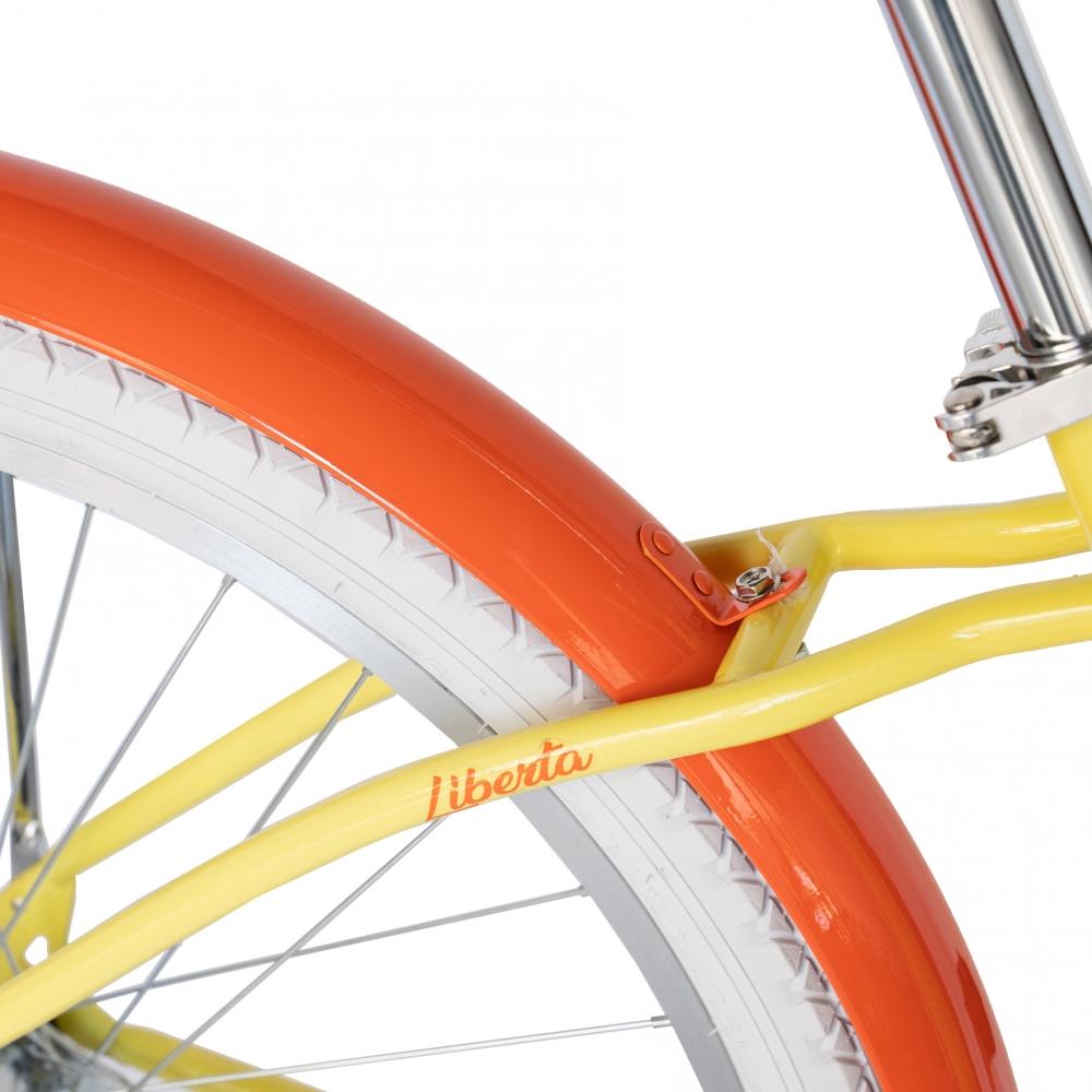 Bicicleta City 26 Carpat Liberta C2694A cu cadru de otel galbenportocaliu