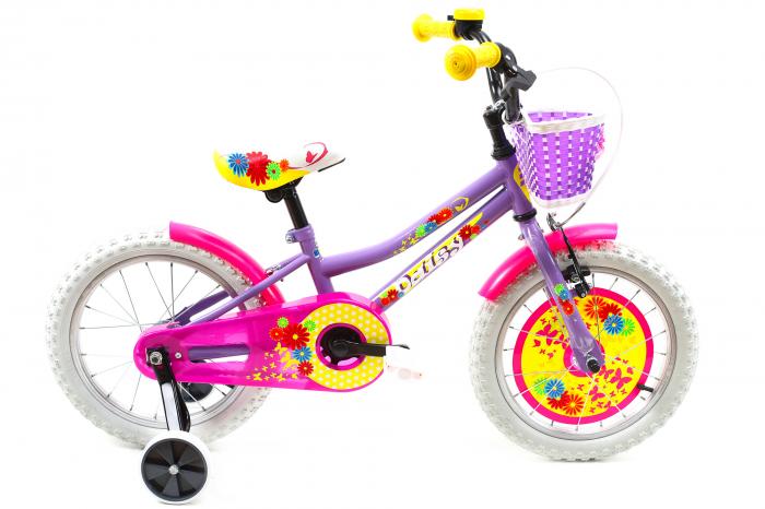 Bicicleta copii Dhs 1602 galben mov 16 inch