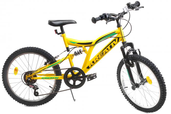 Bicicleta copii Kreativ 2041 galben 20 inch