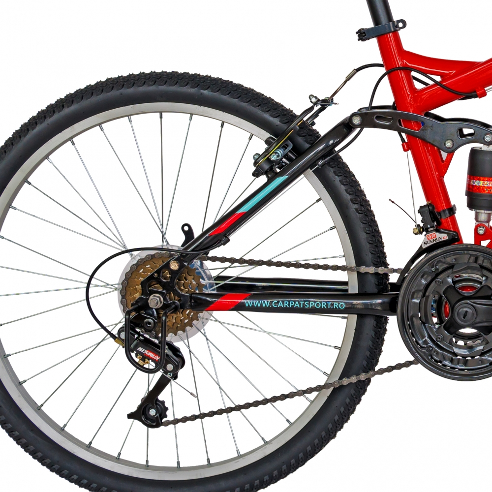 Bicicleta Mtb Velors 2460A roata 24 frana V-Brake rosunegru imagine