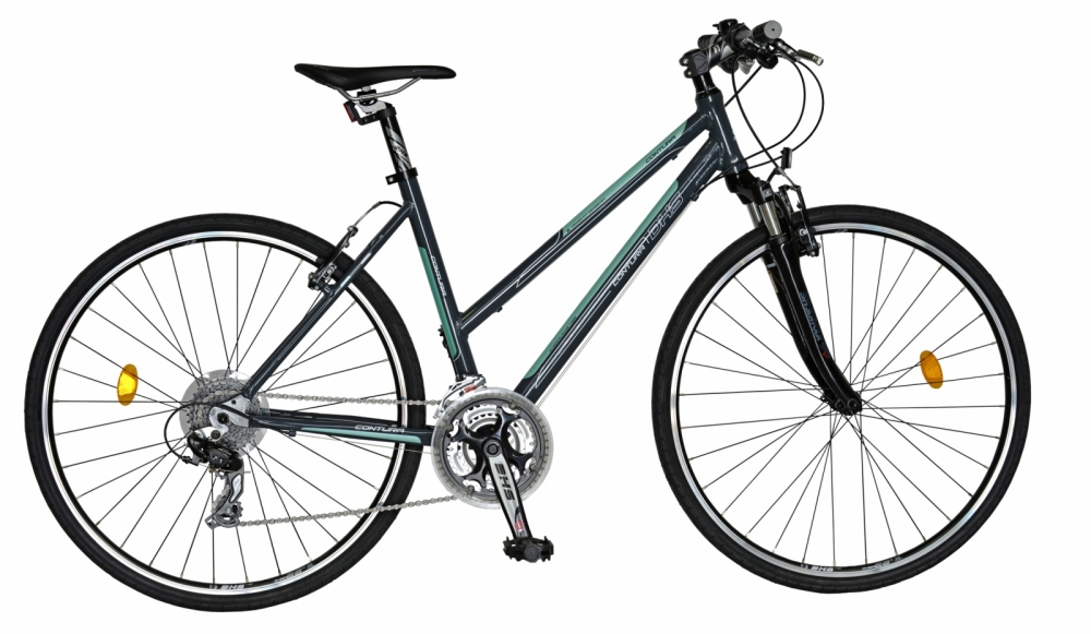 Bicicleta Dhs Contura 2866 M 440mm gri verde 28 inch imagine