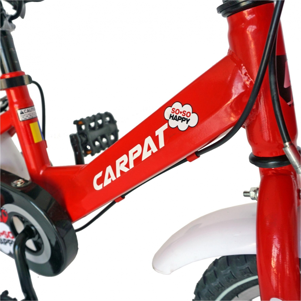 Bicicleta Carpat C1202C 12 V-Brake cu cosulet si roti ajutatoare 2-4 ani rosualb imagine