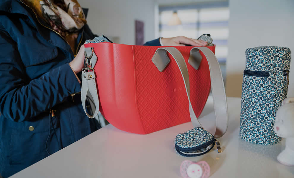 Geanta pentru mamici Crimson Optical Grey + curea pentru geanta Nuvita Mymia