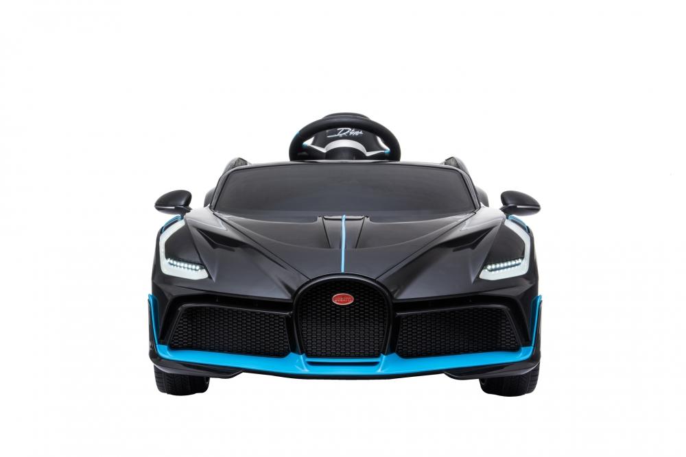 Masinuta electrica cu roti din cauciuc si scaun piele Bugatti Divo Black