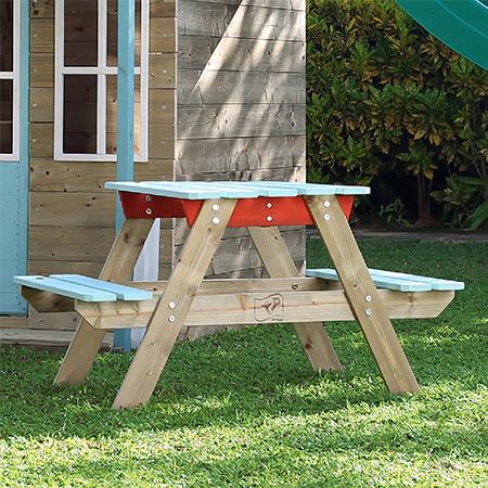 Masuta de picnic cu bancute din lemn vopsit Tp Toys image0