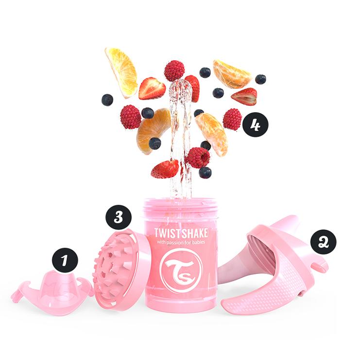 Mini canuta de antrenament 4 luni+ 230 ml pastel pink Twistshake