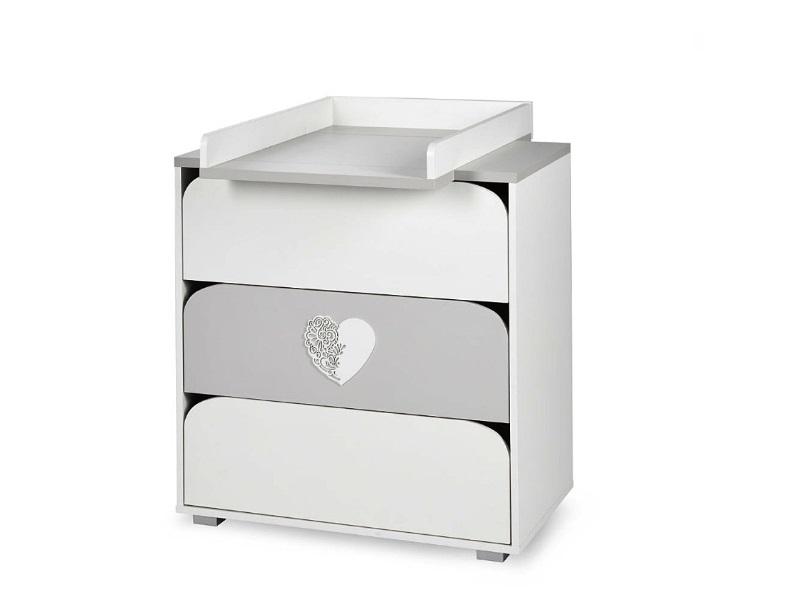 Mobilier camera copii si bebelusi Nel Heart alb gri imagine