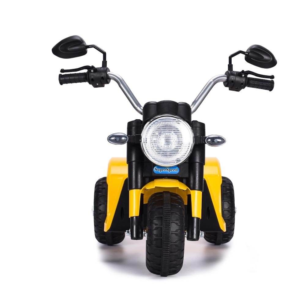 Motocicleta electrica cu scaun din piele Nichiduta Mini 6 volti Yellow