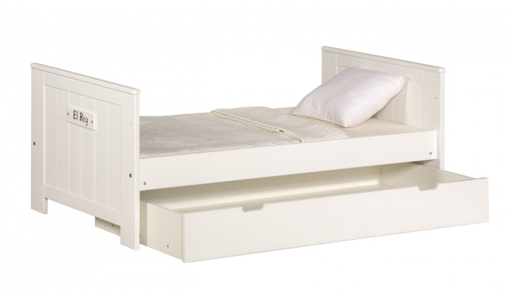 Pat copii Pinio Blanco 70x160 cm lemn de pin alb