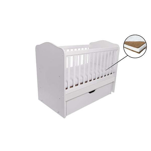 Patut Como balansoar alb + saltea cocos confort 120 x 60 x 12 cm imagine