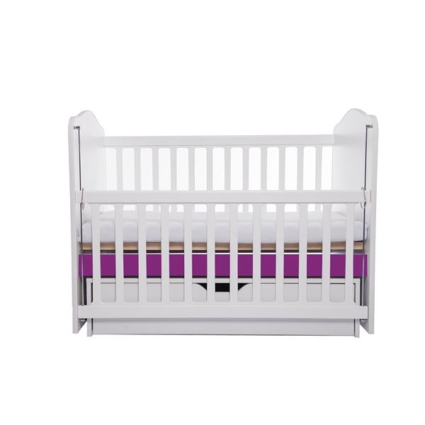 Patut Como balansoar culisant alb cu violet + saltea cocos confort 120x60x12 cm