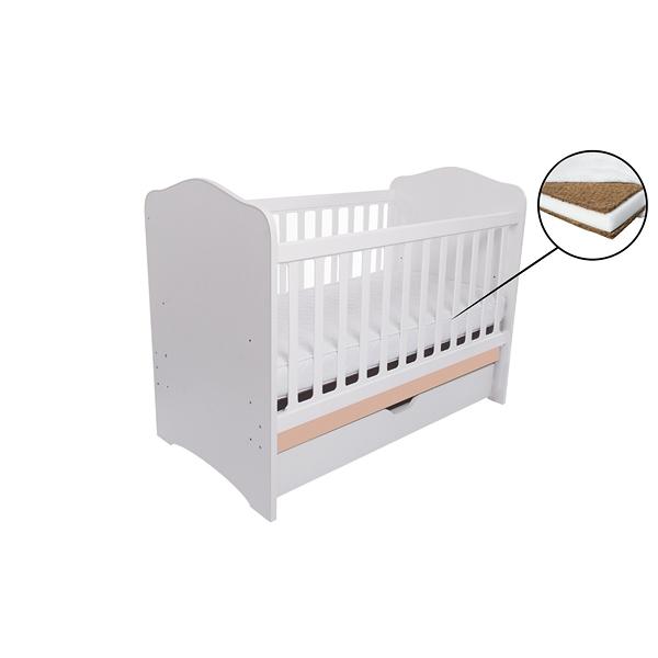 Patut Como cu sertar alb cu cappucino + saltea cocos confort 120 x 60 x 12 cm imagine