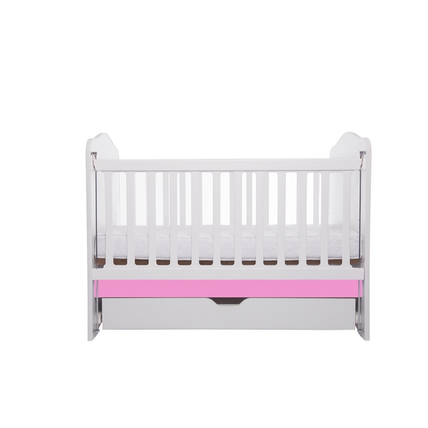 Patut Como culisant cu sertar alb cu roz + saltea cocos confort 120 x 60 x 12 cm