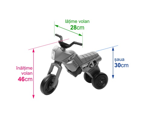 Tricicleta fara pedale Enduro Maxi negru-portocaliu