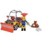 Atv Simba Fireman Sam Mercury Snow Quad cu lama de zapada cu figurina Sam si accesorii