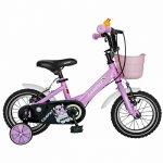 Bicicleta Carpat C1202C 12 V-Brake cu cosulet si roti ajutatoare 2-4 ani roz/alb