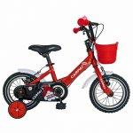 Bicicleta Carpat C1402C 14 V-Brake cu cosulet si roti ajutatoare 3-5 ani rosu/alb