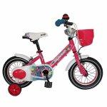 Bicicleta Carpat Princess C1208C 12 cu cosulet si roti ajutatoare 2-4 ani fucsia/verde