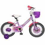 Bicicleta Carpat Princess C1408C 14 V-Brake cu cosulet si roti ajutatoare 3-5 ani mov/alb