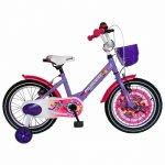 Bicicleta Carpat Princess C1608C 16 V-Brake cu cosulet si roti ajutatoare 4-6 ani violet/alb
