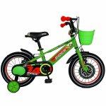 Bicicleta Carpat Rider C1407C 14 V-Brake cu cosulet si roti ajutatoare 3-5 ani verde/portocaliu