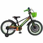 Bicicleta Carpat Rider C1807C 18 V-Brake cu cosulet si roti ajutatoare 5-7 ani negru/verde