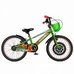 Bicicleta Carpat Rider C2007C 20 V-Brake cu cosulet 7-10 ani verde/portocaliu