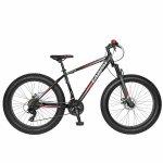 Bicicleta Fat Bike Carpat Hercules 26 C2619B cadru otel frane mecanice disc negru/rosu