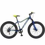 Bicicleta Fat Bike Velors V2605A cadru otel 6 viteze albastru/galben lime
