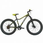Bicicleta Fat Bike Velors V2605A cadru otel 6 viteze negru/galben lime