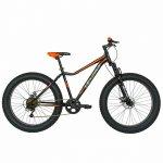 Bicicleta Fat Bike Velors V2605A cadru otel 6 viteze negru/portocaliu