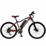 Bicicleta electrica MTB Carpat C1001E 26 cadru aluminiu frane mecanice disc 21 viteze culoare negru/rosu